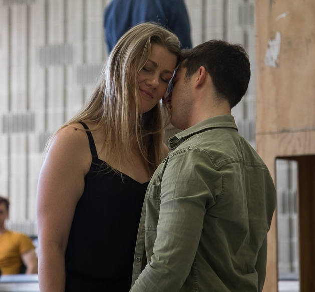 Helen Sherman and Jake Arditti in rehearsal as Poppea and Nero