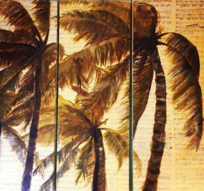 Palm Tree Triptych. 2012. Acrylic on Music Paper. 24 x 24