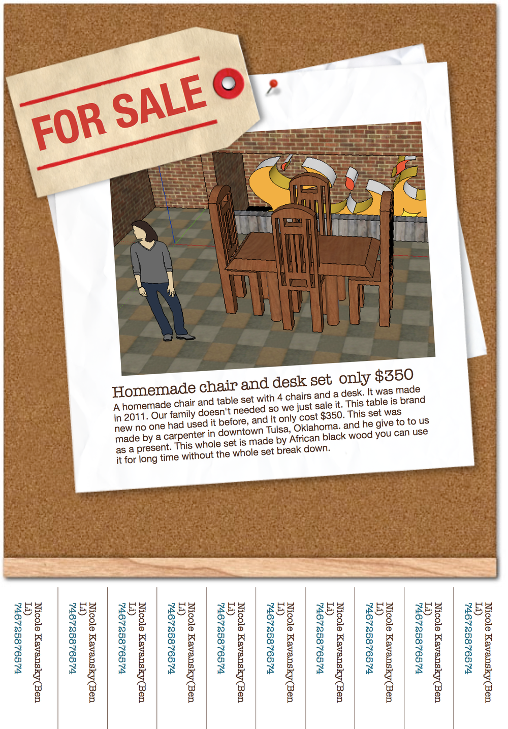 Advert for a table & chair set, designed in Google SketchUp & Apple Pages.