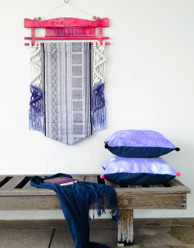 MACRAME WALLHANGING WITH HMONG TEXTILE