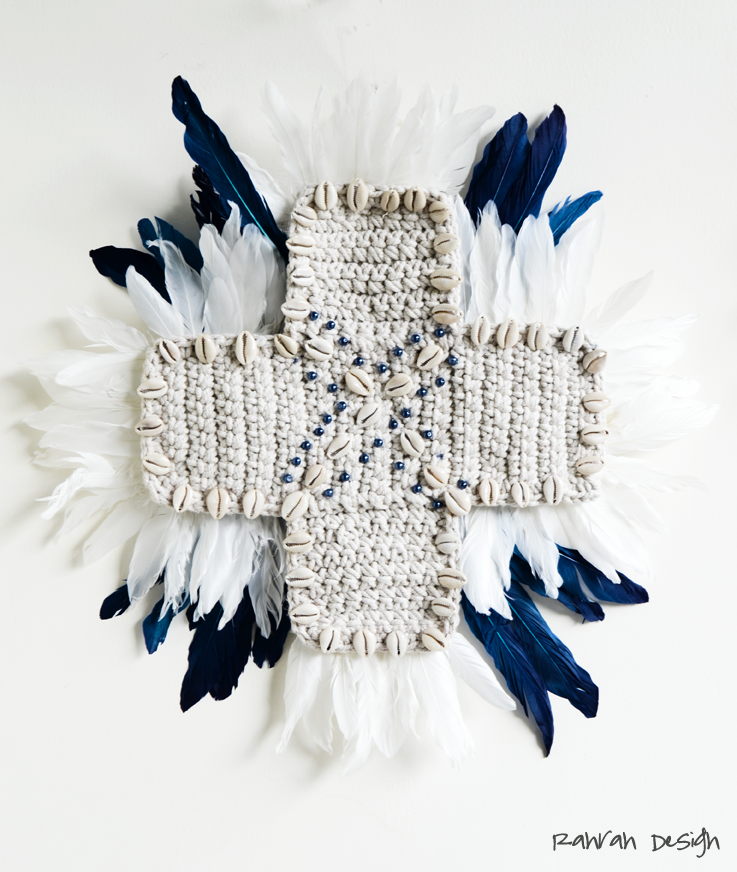 CROCHET AND FEATHER CROSS
