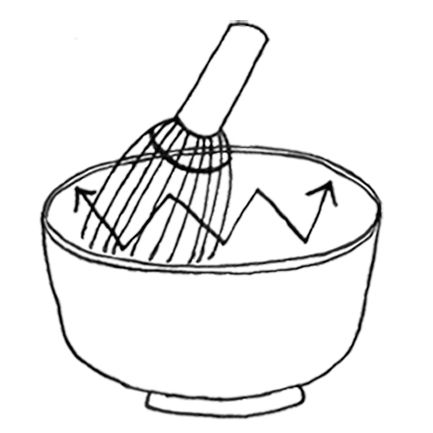 6. After mixing, create a foam by whisking briskly in a vertical zig zag motion.