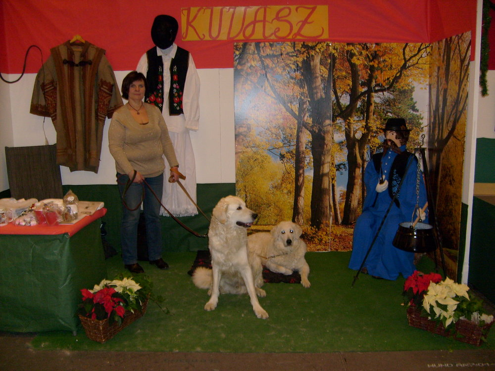Länsman & Anya in the Swedish Kuvasz Club's breed stand at Stockholm's dog show in 2006.