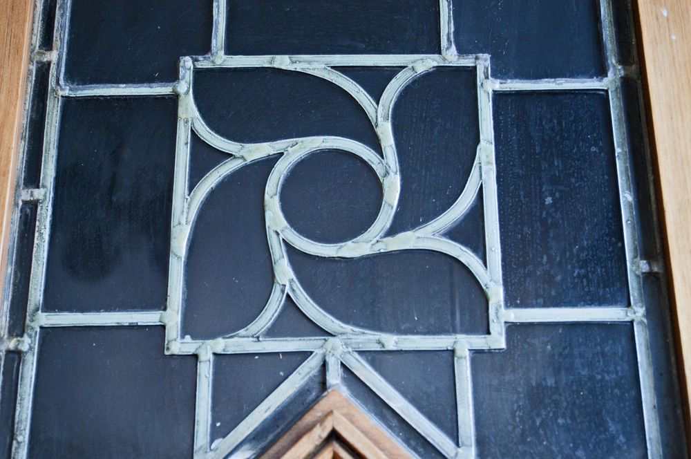 The motif reworked into a leaded glass cupboard door