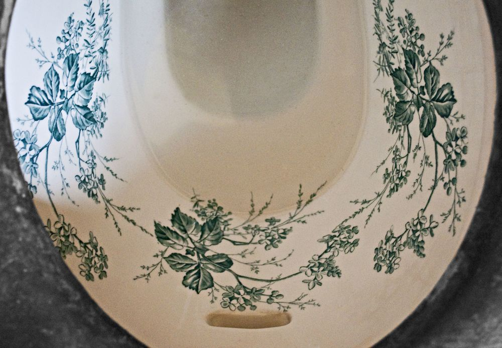 The garlanded toilet bowl