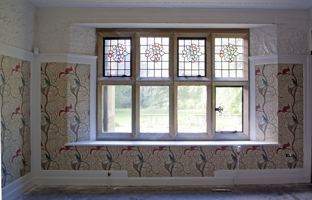 More decorating!  This time it's the drawing room, using Voysey wallpaper