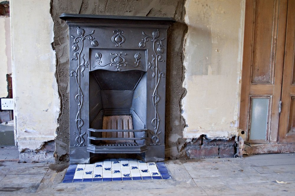 Lovely to get some reclaimed fireplaces installed - makes the rooms instantly feel more homely