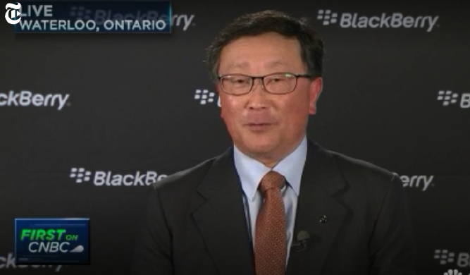Mr. John Chen, CEO of BlackBerry, wearing a Lindman New York custom designed necktie while being interviewed on CNN.