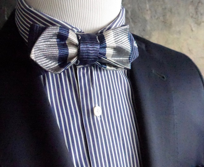 Custom made bow tie -- stripes on stripes on stripes