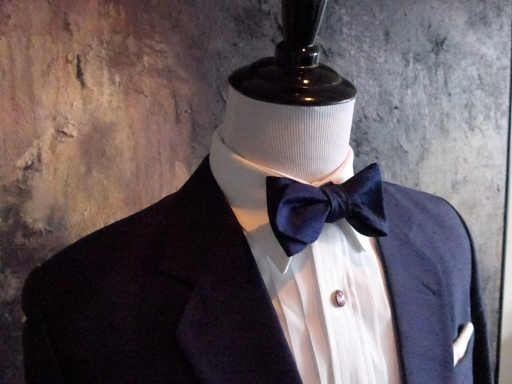 "Custom made classic blue Shantung silk, self tied, bow tie.  The width is 2 1/2"", slightly wider than normal"