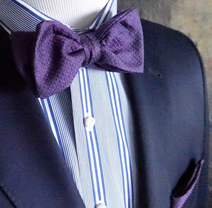 Custom made purple bow tie for a charity dinner in East Hampton.