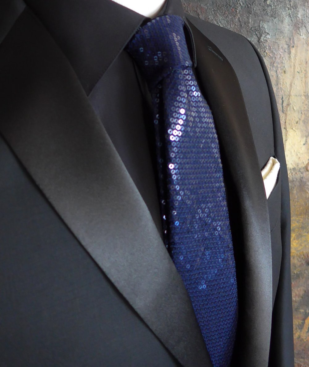 Blue Sequin Custom Tie