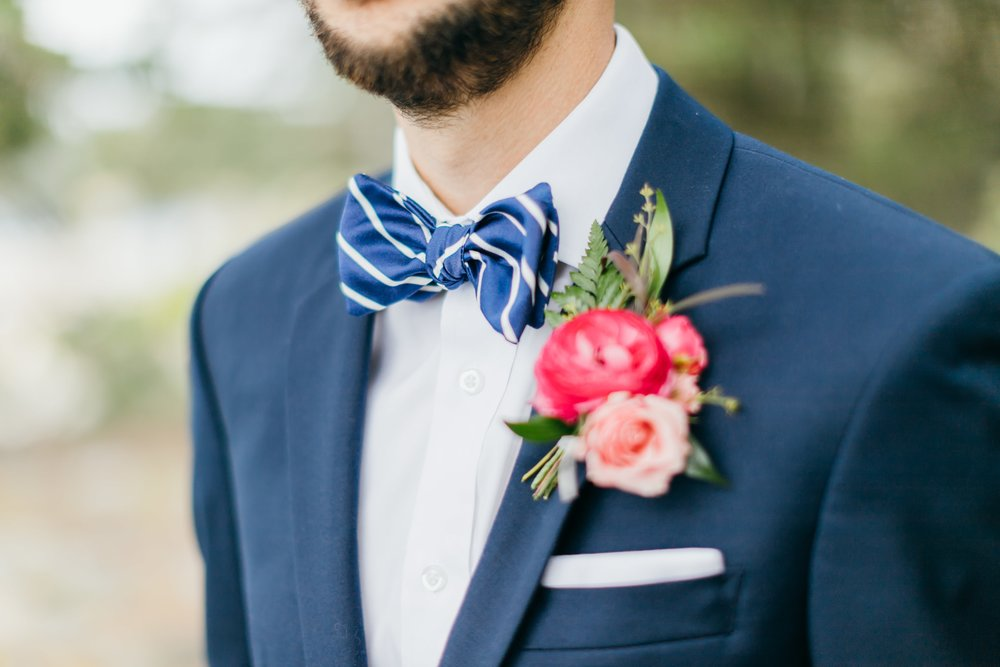 Custom bow tie for a wedding in Maine  - Our client wanted a blue/white bow tie for the groom and a gray/white bow tie for the groomsmen —- but she could not find what she was looking for.Thus we designed and printed the fabric —- and made the bow ties to great success.