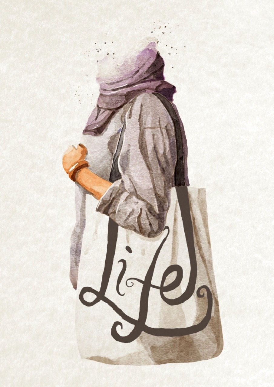 "A dear talented friend, Gesa Febrian, did a digital painting of my recent product for Alfabeta. This ""Life"" totebag is a really personal piece. There goes my wishes with Letterplatters: to make more works from the heart."