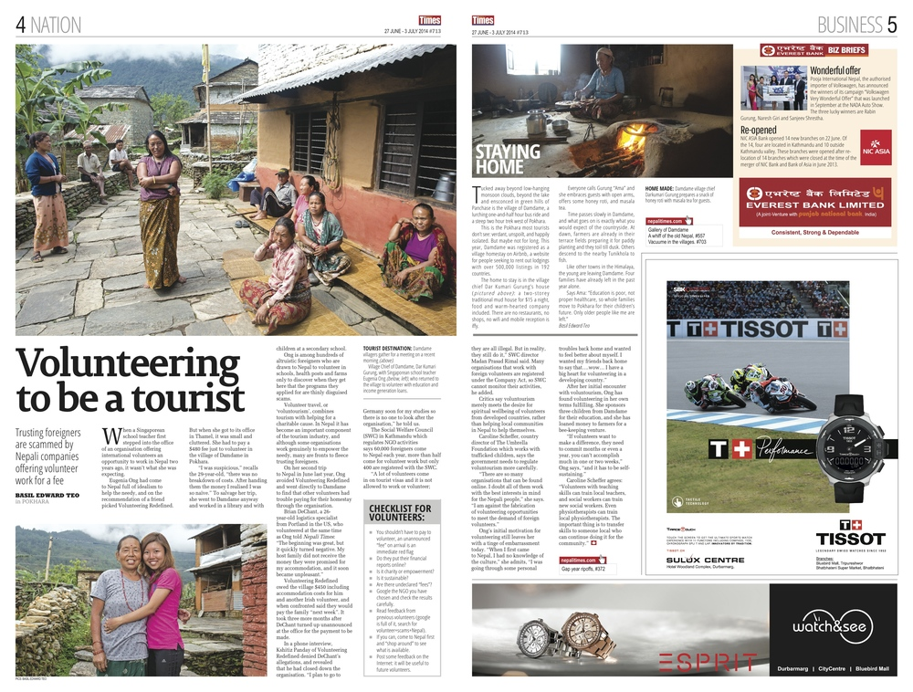 Voluntourism in Nepal, Nepali Times, 2014