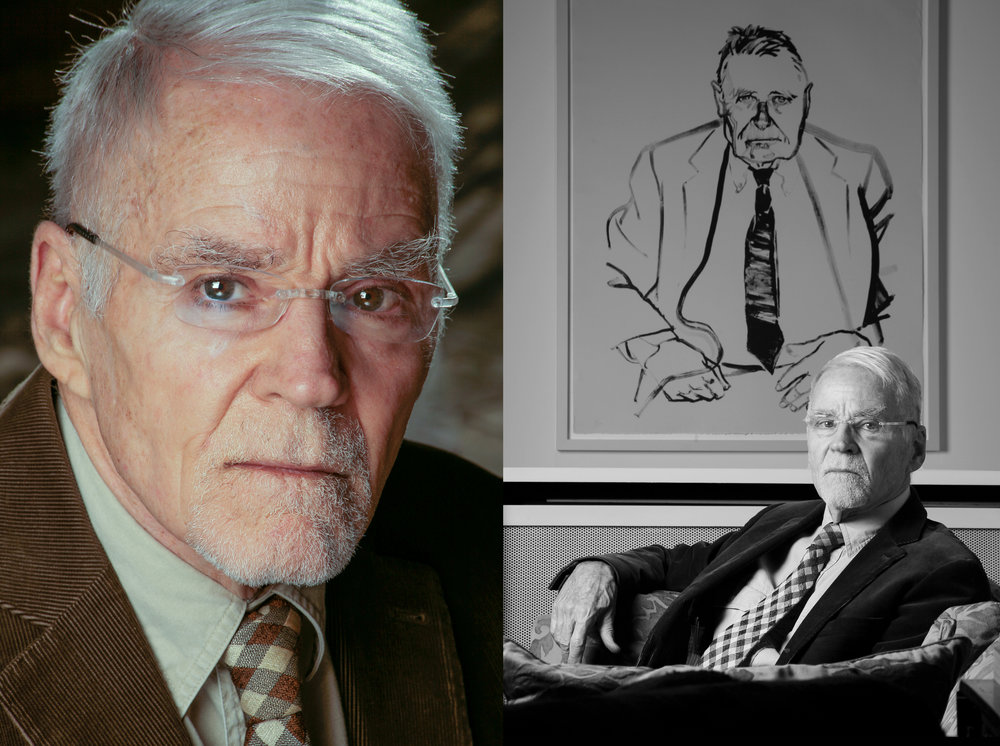 Don Bachardy, artist and writer with one of his portraits of Christopher Isherwood. Photographed in London