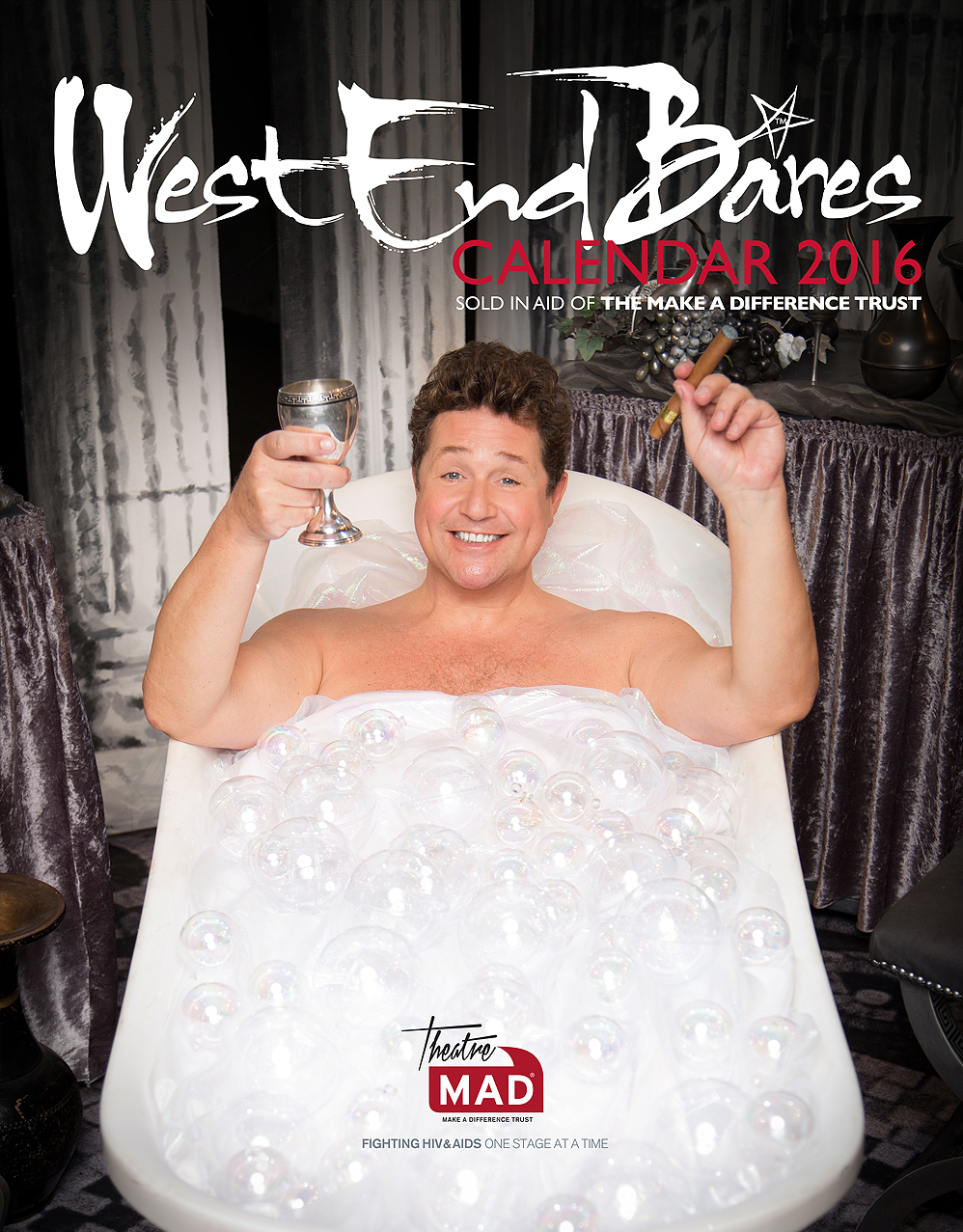 Sir Michael Ball photographed for the 2016 calendar cover at Chichester Festival theatre