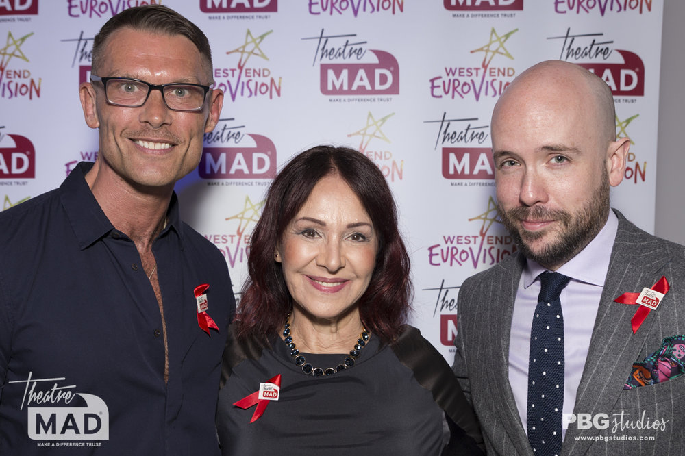 John Partridge, Arlene Phillips and Tom Allen - West End Eurovision 2018