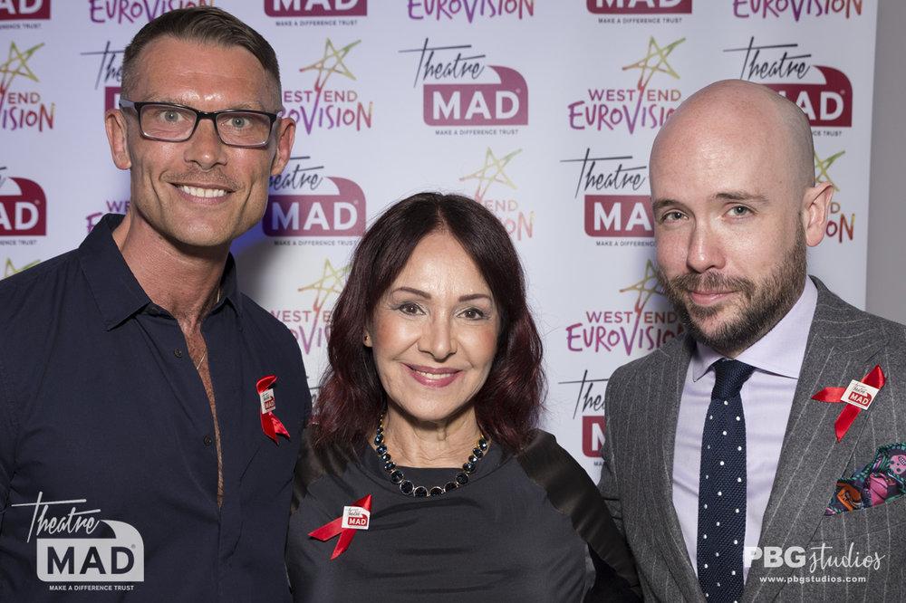 John Partridge, Arlene Phillips and Tom Allen - West End Eurovision 2018