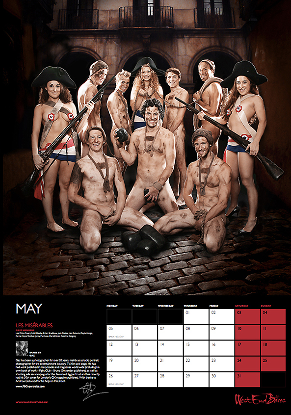 Carrie Hope Fletcher and the cast of Les Misérables for West End Bares calendar