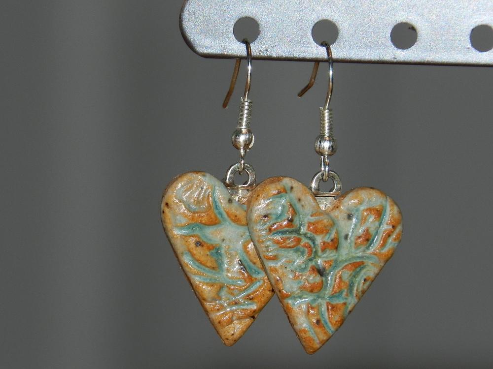 Earrings-Green hearts