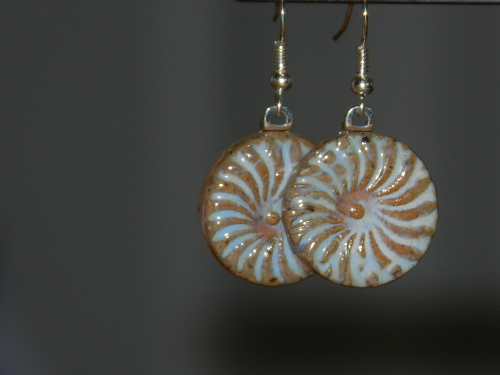 Earrings-Blue gray swirl