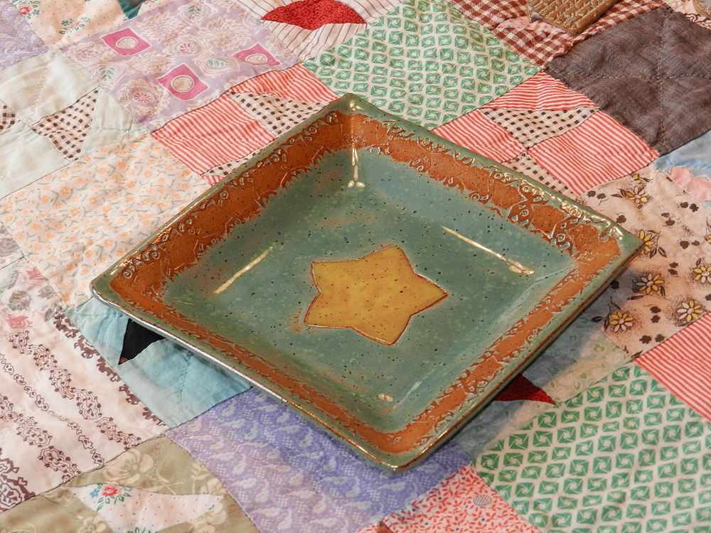 Tray-Mint green and natural with star