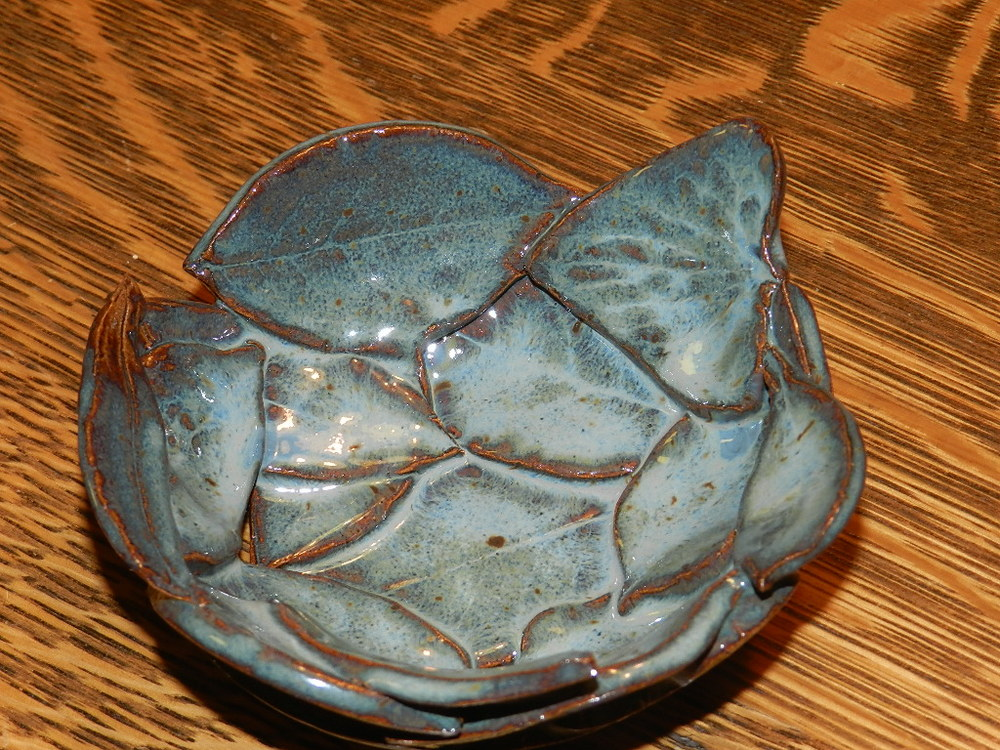 Candle Holder-Blue Leaves