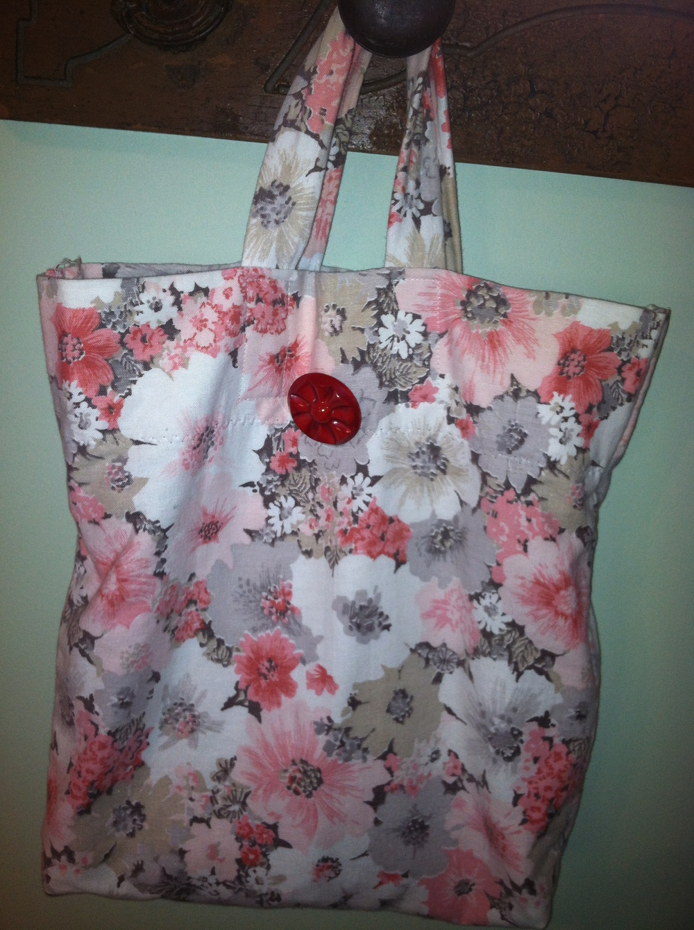 Tote made from discarded curtains
