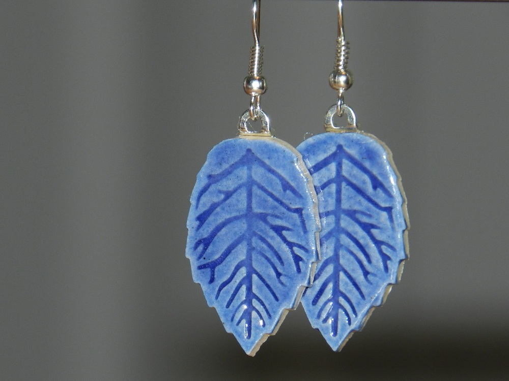 Earrings-Blue leaves