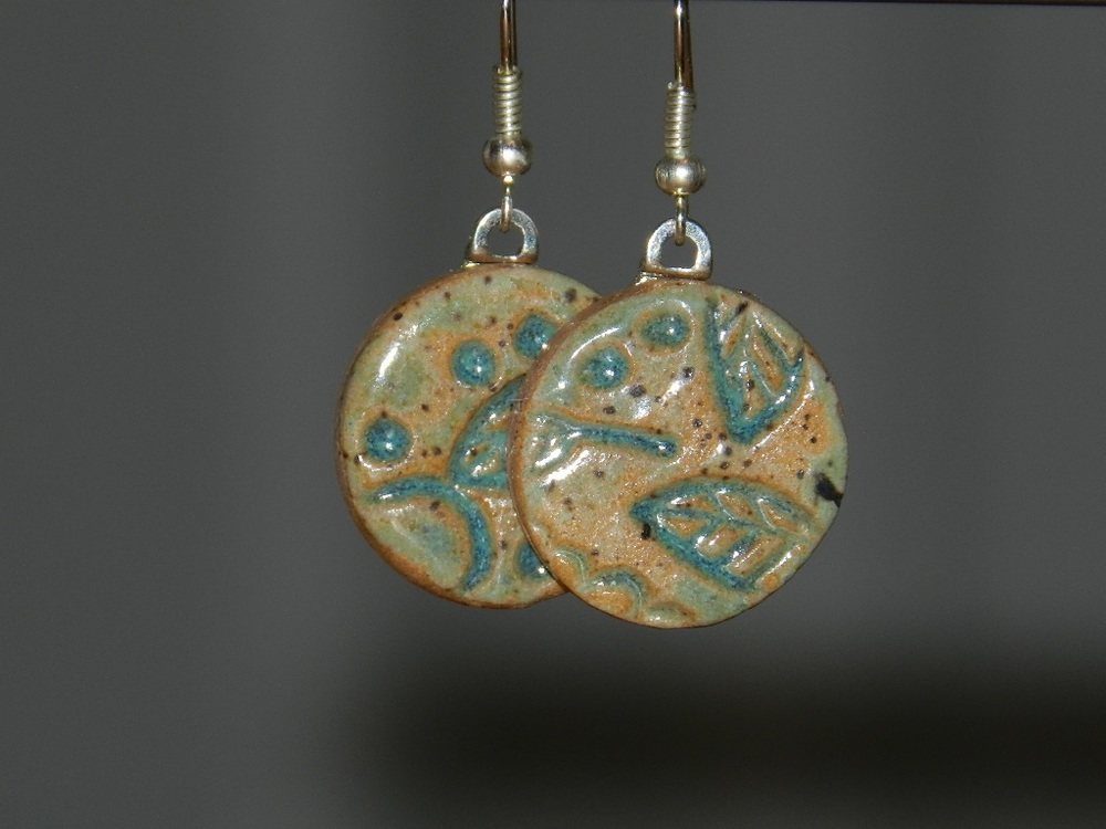 Earrings-Round Green