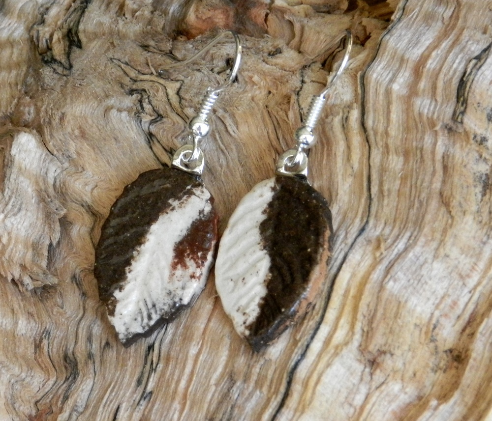 Earrings-Leaves with mixed clays