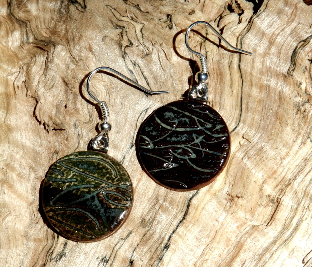 Earrings-Patterns of brown and blue