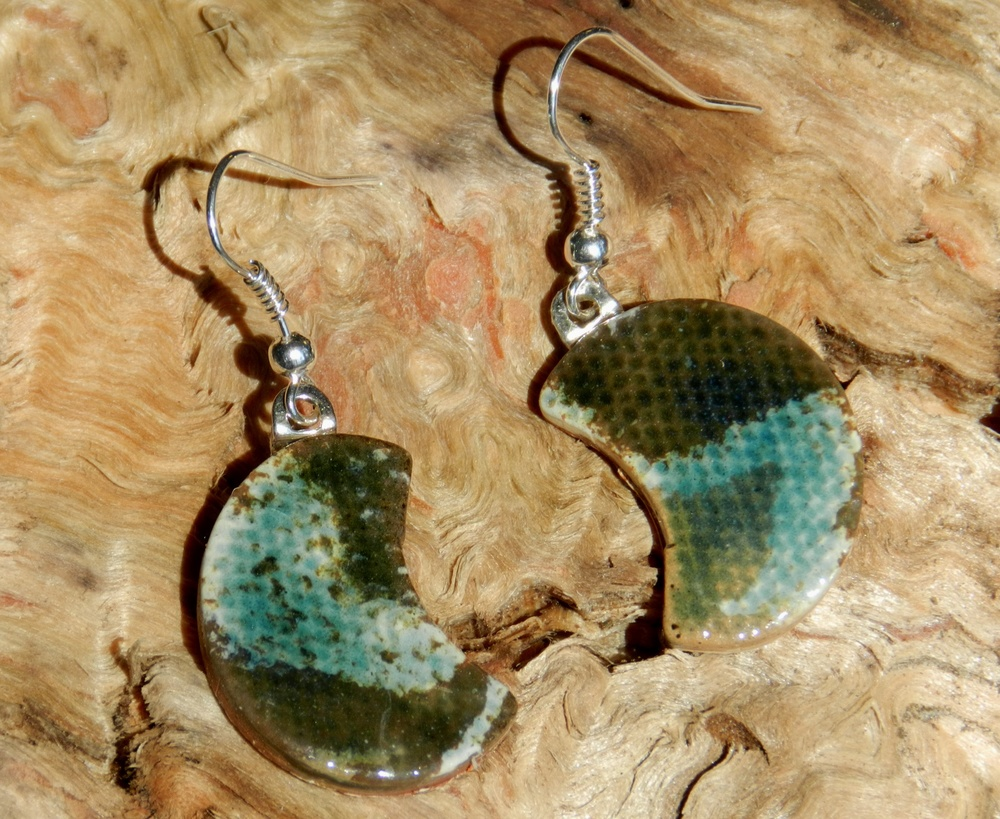 Earrings-Crescents with blues and browns