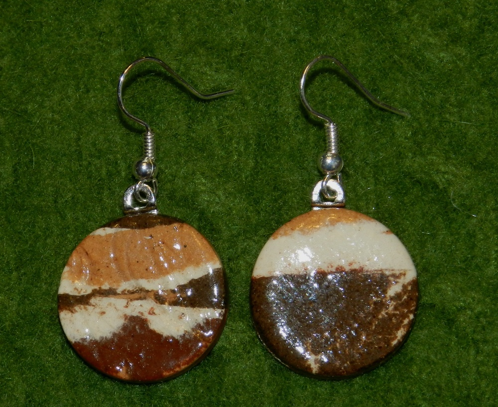 Earrings-Marbled clay disks