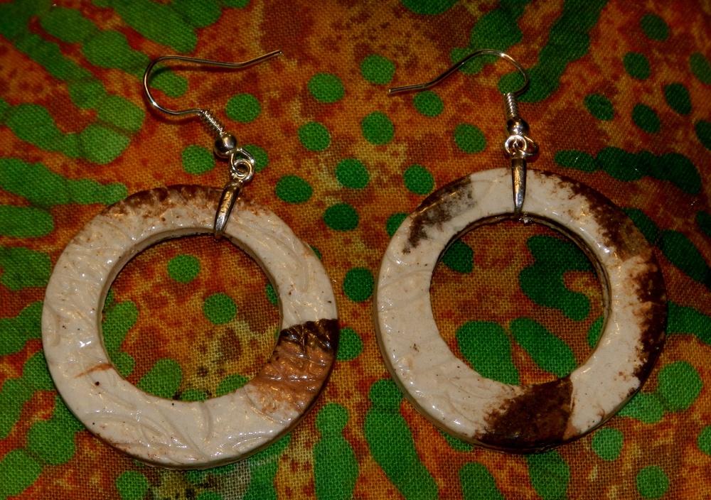Earrings-Marbled clay hoops on fish hook