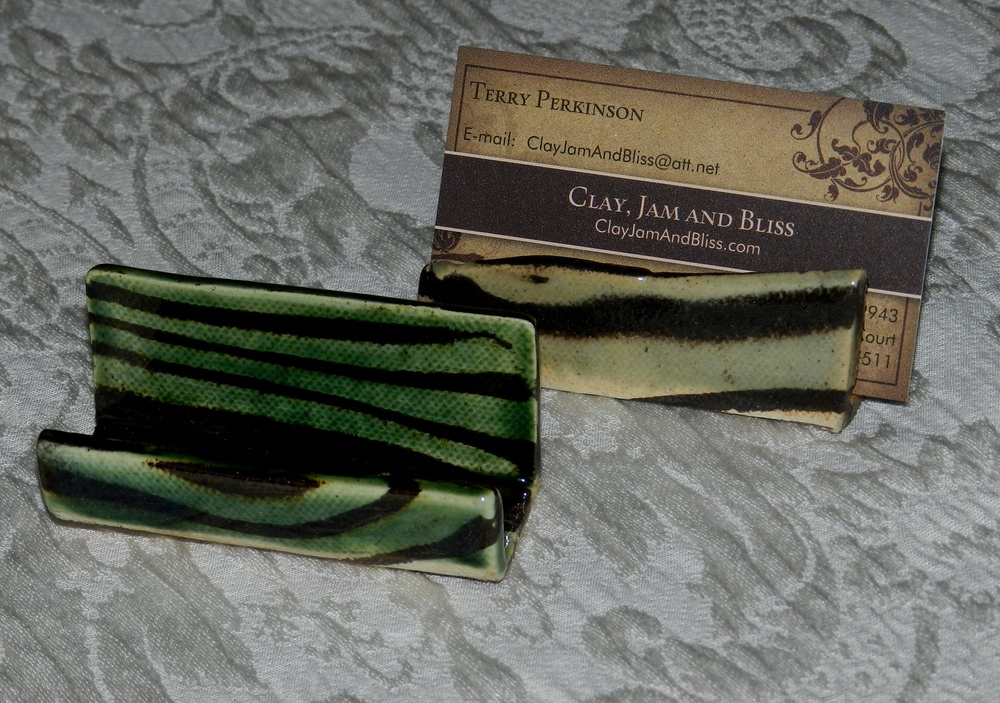 Card holder-Marbled clay
