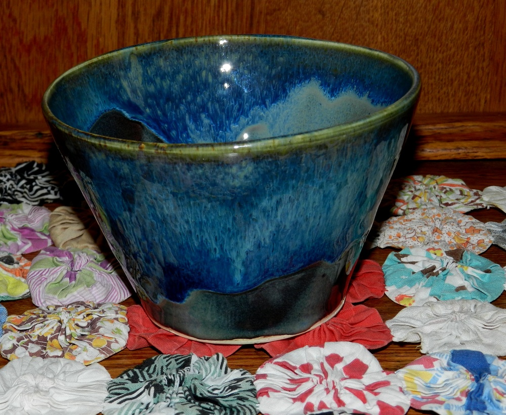 Bowl-Small with blue glaze