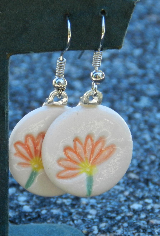 Orange Flower Disk Earrings.jpg