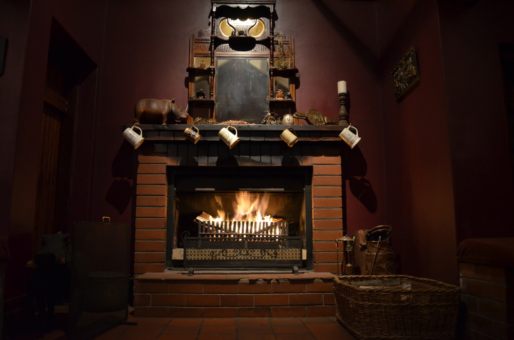 The fireplace welcoming us at The Bend.