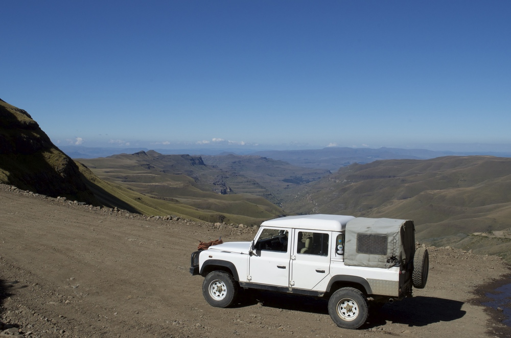 One of the wider stretches of road on the way up Sani Pass.