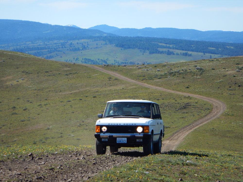 1995 long wheelbase leisurely climbs the ridge.