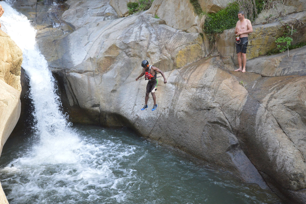 Godfrey Tshumah takes the plunge.  Photo: Gustav Greffrath