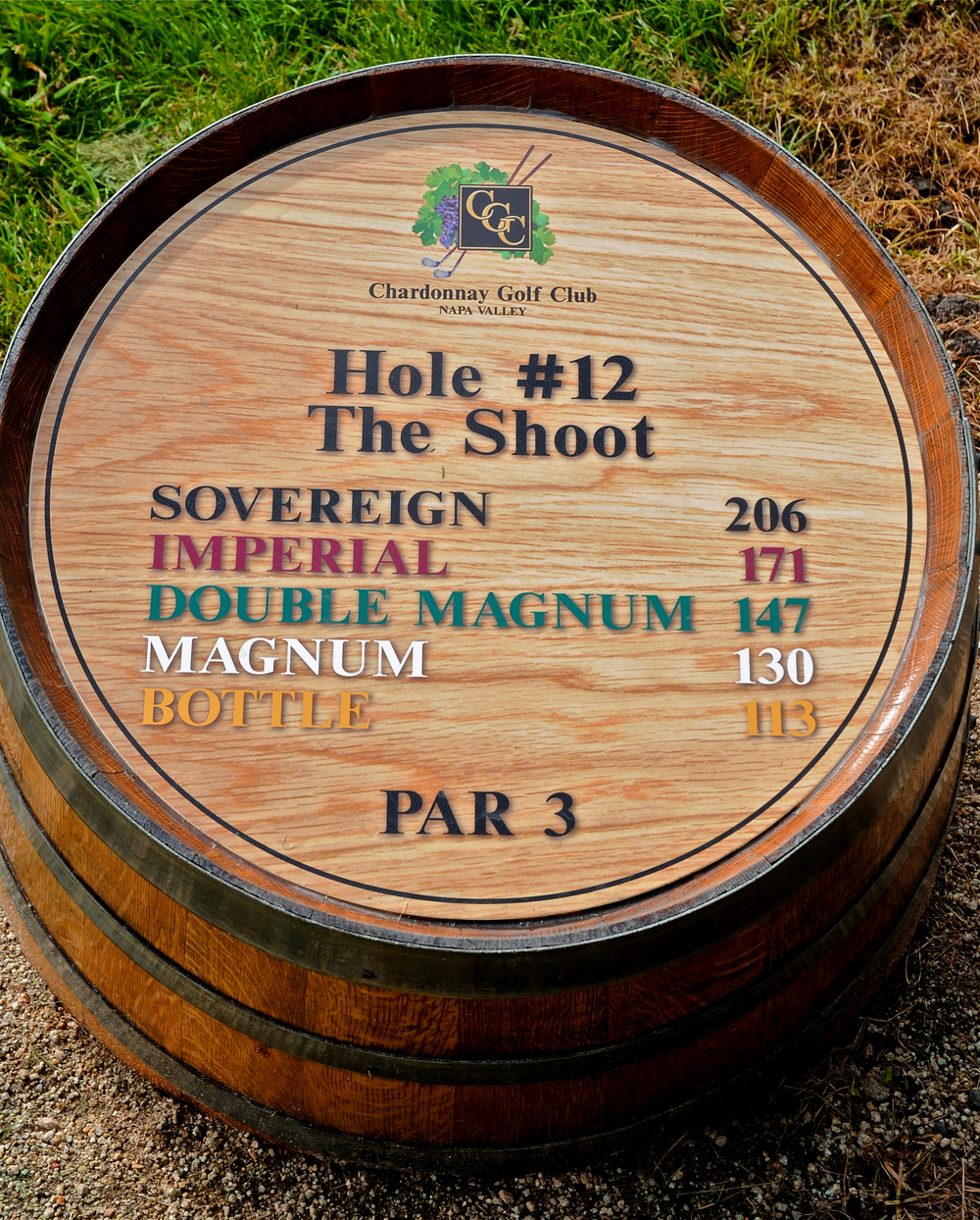 Empty wine barrels are used to indicate yardage © Robert Kaufman