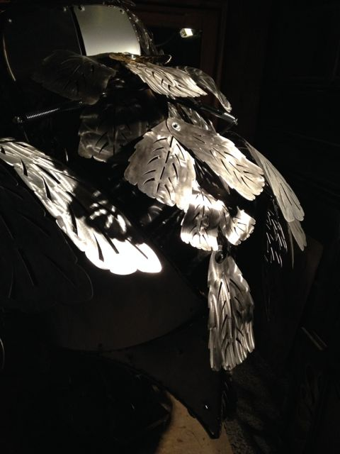 Kinetic Sculpture - Owl in Barneys New York Holiday Window 2014 by Chris Cole 014 Aluminum feather detail