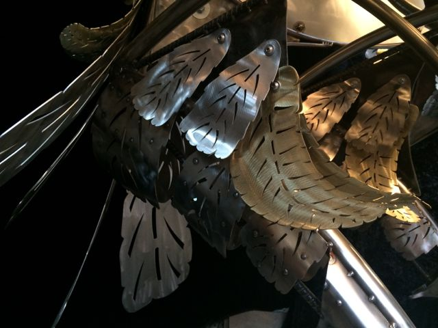 Kinetic Sculpture - Owl in Barneys New York Holiday Window 2014 by Chris Cole 012 brass leg feather detail