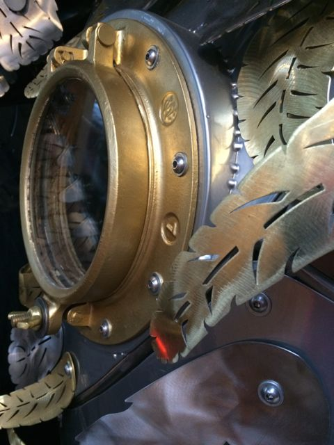 Kinetic Sculpture - Owl in Barneys New York Holiday Window 2014 by Chris Cole 013 brass portal detail