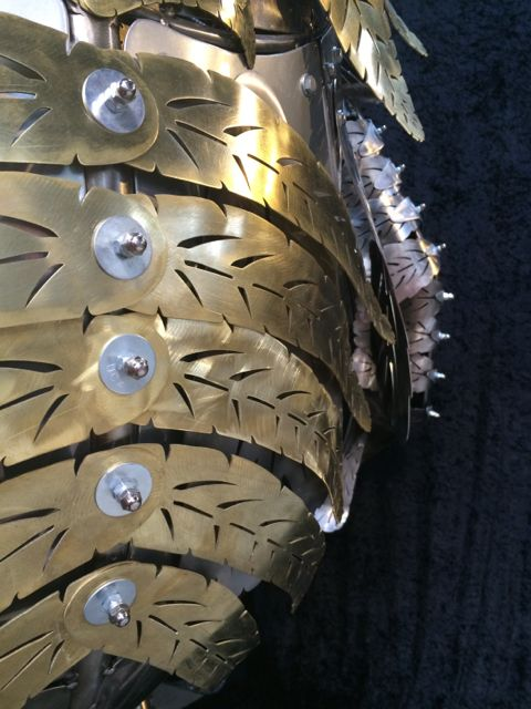 Kinetic Sculpture - Owl in Barneys New York Holiday Window 2014 by Chris Cole 016 Brass feather detail