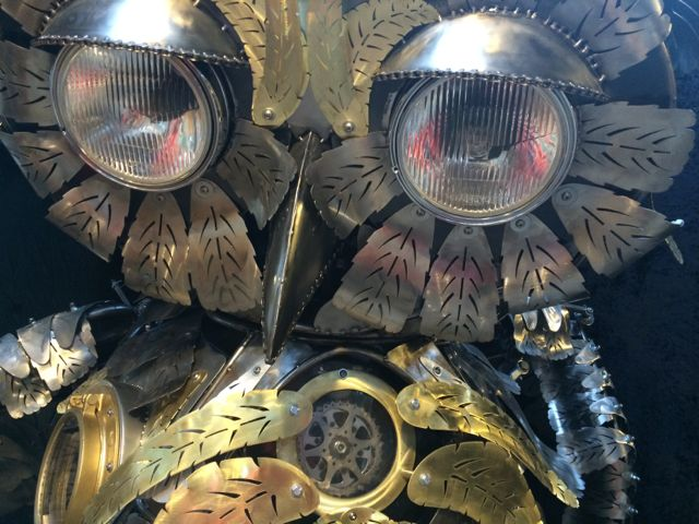 Kinetic Sculpture - Owl in Barneys New York Holiday Window 2014 by Chris Cole 004 eye detail