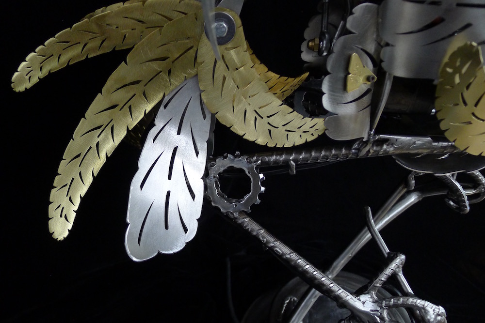 "Kinetic Sculpture ""Amelia"" by artist Chris Cole 008 Feather Detail"
